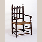 "Fig. 3: Armchair, 1690-1730, Southeastern Virginia. Cherry with hickory and white oak; HOA: 43-1/2"", WOA: 25"". Collection of the Museum of Early Southern Decorative Arts, Acc. 1132."