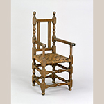 "Fig. 6: Armchair, 1690-1715, coastal South Carolina. Walnut; HOA: 45-1/2"", WOA: 22"", DOA (of seat): 16-3/4"". Collection of the Colonial Williamsburg Foundation, Acc. 1953-585,A."