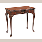 "Fig. 4: Card table, 1745–1755, Charleston, South Carolina. Mahogany with cypress and ash; HOA: 28-1/4"", WOA: 33""; DOA: 17"" (closed). Collection of the Museum of Early Southern Decorative Arts (MESDA), Acc. 3266."