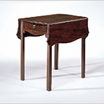 "Fig. 5: Pembroke or breakfast table by John Shaw, ca. 1780, Annapolis, Maryland. Mahogany with yellow pine and tulip poplar; HOA: 28-1/4"", WOA: 20"" (closed), DOA: 29"". Collection of the Museum of Early Southern Decorative Arts (MESDA), Acc. 4376."