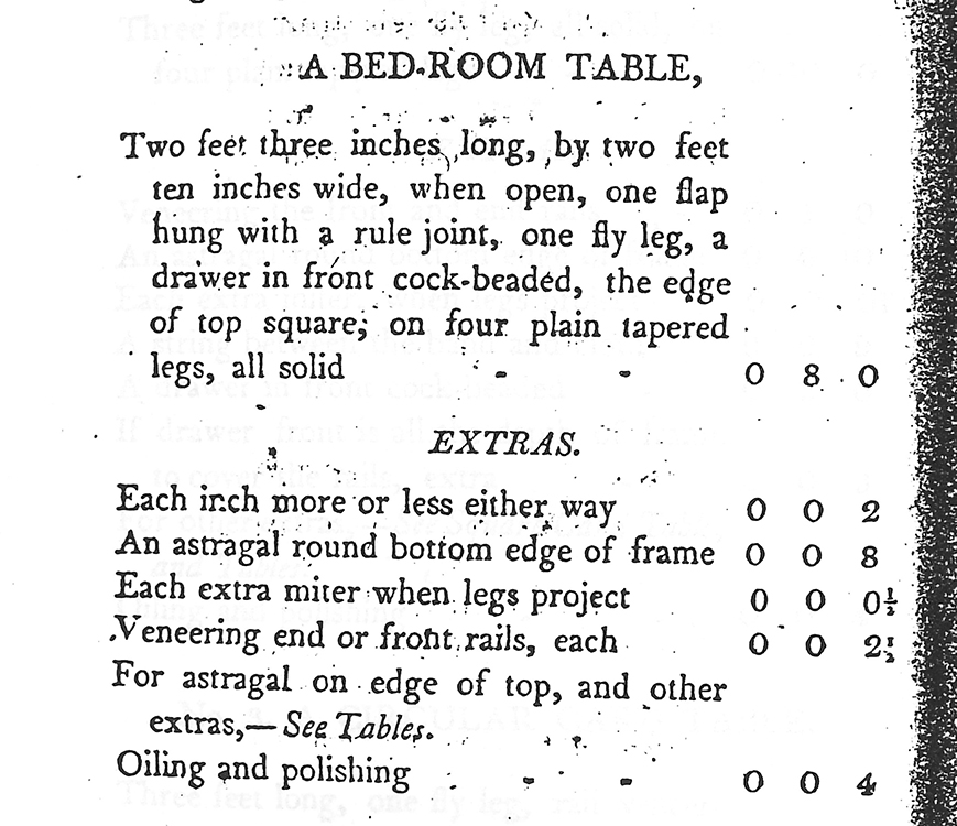 Fig 7 bedroom table entry in the 1811 edinburgh book of prices