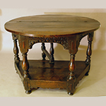 "Fig. 11: Credence table, 1620-1635, England. Oak; HOA: 31"", WOA: 35-1/2"", DOA: 31"" (closed). Photograph courtesy Fiske & Freeman, Ipswich, Massachusetts."