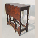 "Fig. 13: Single-leaf table, ca. 1700, Lake District, England. Oak; HOA: 26-1/2"", WOA: 12-1/2"", DOA: 26"" (closed), 33"" (open). Photograph courtesy Fiske & Freeman, Ipswich, Massachusetts."
