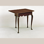 "Fig. 15: Bedroom table (or single-leaf table), 1750–1790, Massachusetts. Mahogany with white pine; HOA: 25-7/8"", WOA: 30-3/4"", DOA: 13-3/8"" (closed), 23-1/8"" (open). Collection of the Colonial Williamsburg Foundation, Acc. 1952-573."