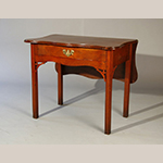 "Fig. 16: Bedroom table (or single-leaf table), ca. 1785, North Shore Massachusetts or Portsmouth, New Hampshire. Mahogany; HOA: 28"", WOA: 28-3/4"" (at case), DOA: 20-1/2"" (closed), 35-1/2"" (open). Private collection, photograph courtesy Peter Eaton Antiques, Newbury, Massachusetts."