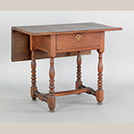 "Fig. 19: Bedroom table (or single-leaf table), ca. 1745, Pennsylvania. Walnut; HOA: 29-1/4"", WOA: 35-3/4"". Collection at Toad Hall, Landisville, Pennsylvania; photograph courtesy Pook & Pook Inc., Downingtown, Pennsylvania."