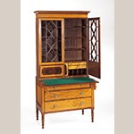 "Fig. 23: Desk and bookcase by Robert Walker, 1812–1820, Charleston, South Carolina. Mahogany with mahogany and satinwood veneers, cedrela, and ash; HOA: 83-1/8"", WOA: 42-1/4"", DOA: 21-1/4"". Collection of the Museum of Early Southern Decorative Arts (MESDA), Acc. 4215."