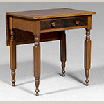 "Fig. 32: Work table (or single-leaf table), 1825–1850, America. Cherry with traces of original grain painting and mixed secondary woods; HOA: 29"", WOA: 28"", DOA: 20"" (closed), 32"" (open). Private collection, photograph courtesy Brunk Auctions, Asheville, North Carolina."