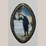 "Fig. 7: Mourning broach, 1793, Virginia. Painted on base of monument: ""Sacred by / thy memory"" and inscribed on the bezel: ""REBECCA WILKINSON NAT: 7 MAY 1771 OB: 23 JAN 1793."" Watercolor on ivory with metal; HOA: 1-13/16"", WOA: 1-1/8"". Private collection; MESDA Object Database file S-15318."