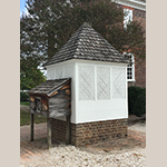 Fig. 8: 1754 George Wythe House enclosed well and portable milk house, Colonial Williamsburg, Williamsburg, VA. Photograph by the author.