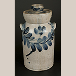 Fig. 11: Butter churn, Henry Myers, c. 1825, Baltimore, MD. Salt-glazed stoneware with cobalt decoration. Private Collection; Photograph courtesy Crocker Farm Auctions, Sparks, MD (sold 1 March 2014).