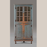 "Fig. 5: Corner cupboard, 1735-1745, Tidewater VA. Yellow pine, with tulip poplar and walnut; HOA: 76-1/2"", WOA: 36"", DOA: 19-1/2"". Colonial Williamsburg Foundation Acc. 1930-379, Museum Purchase."