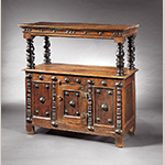 "Fig. 6: Court cupboard, 1650-1670, James Co. or York Co., VA. Oak, yellow pine, and walnut; HOA: 49-7/8"", WOA: 50"", DOA: 18-7/8"". MESDA Acc. 2024.6, Gift of Frank L. Horton."
