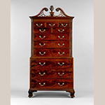 "Fig. 8: Double chest of drawers, 1765-1780, Charleston, SC. Mahogany with cypress and tulip poplar; HOA: 89-5/8"", WOA: 44-1/2"", DOA: 24-3/8"". Colonial Williamsburg Foundation Acc. 1974-166, Museum Purchase."