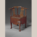 "Fig. 11: Corner chair attributed to Robert Walker, 1755-1760, King George Co., VA. Mahogany; HOA: 31-3/4"", WOA: 30-1/4"", DOA: 26"". MESDA Acc. 2921, Gift of Frank L. Horton."