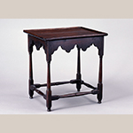 "Fig. 14: Tea table, 1720-1730, Eastern VA. Walnut; HOA: 27-1/2"", WOA: 26-3/8"", DOA: 21-1/2"". Colonial Williamsburg Foundation Acc. 1976-429; Gift of Col. & Mrs. Miodrag R. Blagojevich."