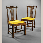 "Fig. 17: Pair of side chairs attributed to Thomas Miller, ca. 1774, Fredericksburg, VA. Cherry; HOA: 36-3/4"", WOA: 21-1/4"", DOA: 17-1/4"". MESDA Acc. 5542.1-2.mb"