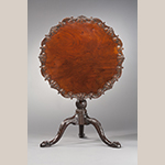 "Fig. 18: Tea table attributed to Robert Walker, 1750-1760, King George Co., VA. Mahogany and cherry; HOA: 28-1/2"", WOA: 30"". MESDA Acc. 3992, Given in memory of Mr. and Mrs. Henry Worsham Dew by Mr. and Mrs. J.T. Warmath."