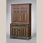 "Fig. 21: Cupboard attributed to Jacob Sanders, 1770-1810, Montgomery Co., NC. Yellow pine and poplar; HOA: 84-1/4"", WOA: 50-1/4"", DOA: 21-3/8"". MESDA Acc. 2073.22, Bequest of Miss Katherine Hanes."