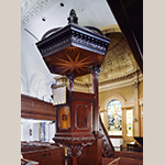 Fig. 18: Pulpit and sounding board in St. Michael's Church carved by Henry Burnett. Photograph by Gavin Ashworth, NYC.