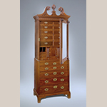 "Fig. 27: Lady's closet by Robert Deans and carved by Henry Burnett, 1750–1755, Charleston, SC. Mahogany with cypress; HOA: 53-1/4"", WOA: 35-1/4"", DOA: 18-3/4"". Collection of the Museum of Early Southern Decorative Arts (MESDA), Acc. 3522, Given in memory of Polly and Frank Myers by Mr. and Mrs. George Kaufman."