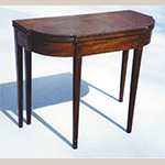 "Fig. 2: Card table signed by Willis Cowling, ca. 1810, Richmond, VA. Mahogany and mahogany veneer with yellow pine and white oak; HOA: 29-1/2"", WOA: 36-1/8"", DOA: 17-3/4"". Private collection."