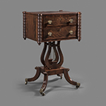 "Fig. 7: Sewing table, ca. 1810, Baltimore, MD. Mahogany with mahogany veneer and white pine; HOA: 30-3/8"", WOA: 19-7/8"", DOA: 15-3/4"". MESDA collection, Acc. 5876, Gift of Kelly and Randy Schrimsher."