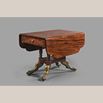 "Fig. 10: Breakfast table by James Woodward, 1819, Norfolk, VA. Mahogany with tulip poplar, sycamore, and white pine; HOA: 27-5/8"", WOA: 50-3/4"", DOA: 38"". MESDA collection, Acc. 3813."