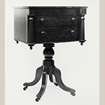 "Fig. 14: Sewing table, 1825–1835, Tidewater Virginia. Mahogany with mahogany veneer, yellow pine, tulip poplar, and white pine; HOA: 32-1/4"", WOA: 22-1/2"", DOA: 16-1/8"". Private collection, MESDA Object Database file S-3903."