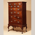 "Fig. 9. High chest on frame by Virgil Eachus, 1789, Chester Co., PA. Signed and dated ""Virgil Eachus the 2: of the 6 mo. AD 1789."" Walnut; dimensions not recorded. Private Collection; Photograph courtesy Philip H. Bradley Antiques, Downingtown, PA."