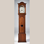 "Fig. 19: Tall case clock with case attributed to David Osborne, 1794–1796, Guilford Co., NC. Walnut with yellow pine; HOA: 94"", WOA: 20-1/2"", DOA: 10-1/2"". Private Collection; Photography courtesy Christopher H. Jones Antiques, Alexandria, VA."