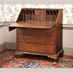 "Fig. 26: Desk by Henry Macy, 1800–1810, Guilford Co., NC. Walnut with tulip poplar; HOA: 47-3/8"", WOA: 42-7/16"", DOA: 22-7/8"".  Private Collection; MESDA Object Database file D-31644."