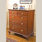 "Fig. 27: Chest of drawers by Henry Macy, 1800–1810, Guilford Co., NC. Walnut with tulip poplar; HOA: 44-1/2"", WOA: 40-5/8"", DOA: 21-1/4"". Private Collection; MESDA Object Database file D-31849."