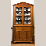 "Fig. 28: Corner Cupboard by Henry Macy, ca. 1799, Guilford Co., NC. Walnut with tulip poplar; HOA: 97-3/4"", WOA: 43"", DOA: 27"". Private Collection; MESDA Object Database file D-31443."