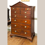 "Fig. 29: High chest of drawers by Henry Macy ca. 1808, Guilford Co., NC. Walnut with tulip poplar; HOA: 66-7/8"", WOA: 39-3/8"", DOA 20"". Private Collection; MESDA Object Database file D-31439."
