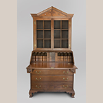 "Fig. 30: Desk and bookcase by Samuel Brazelton, Shop of Henry Macy and Frederick Fentress, 1812, Guilford Co., NC. Signed in ""SB 1812."" Walnut with tulip poplar; HOA: 89-1/2"", WOA: 44-1/2"", DOA: 21"". Private Collection; MESDA Object Database file D-33229."