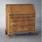 "Fig. 37: Desk by Robert Matthews, 1807, Guilford Co., NC. Signed ""Robert Matthews his hand work / Cabonnet [sic] Maker his hand work for gorge [sic] claps widow Martch [sic] 12 1807."" Walnut with tulip poplar; HOA: 42"", WOA: 36-7/8"", DOA: 21"". Private Collection; MESDA Object Database file NN-1205."