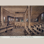 "Fig. 39: ""Interior of Meeting House at New Garden"" by John Collins, 1869. This image depicts the two-story frame meetinghouse completed in 1791. Watercolor and ink on paper. Friends Historical Collection, Guilford College, Greensboro, NC; MESDA Object Database file D-32476."