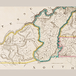 Fig. 21: Detail of the 1826 DeSilver imprint of the Price-Strother map (from the copy of the map presented as Fig. 19) showing topographical details within Haywood County copied from the 1823 Tanner Map (Fig. 23).