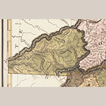 Fig. 22: Detail of the 1823 Tanner Map (from the copy of the map presented as Fig. 23) showing topographical details within Haywood County copied to the 1826 DeSilver imprint of the Price-Strother map.