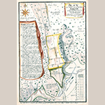 Fig. 4: Plan of Salem, North Carolina, surveyed and drawn by Christian Gottlieb Reuter, 1765, Wachovia Area, NC. Ink and watercolor on paper. Collection of the Moravian Archives, Herrnhut, Germany, catalog TS Mp.208.5, MESDA Object Database file S-1008.