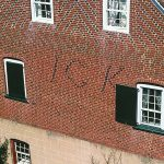 "Fig. 23: Detail of Johann Gottlob Krause's initials (""I"" is used in place of ""J"") spelled out in contrasting brick on the south side of the Christoph Vogler House (Fig. 22)."