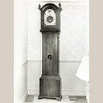 "Fig. 30: Tall case clock, works attributed to Johann Ludwig Eberhardt and case by Daniel Wolf, 1803, Salem, NC. Inscribed on case: ""Clock made August 17, 1803, Daniel Wolff."" Walnut with tulip poplar; HOA: 95-3/4"", WOA: 22-3/4"", DOA: 10"". Private collection, MESDA Object Database file S-1510."