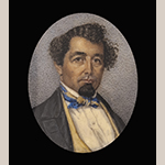 "Fig. 32: Self portrait of Elias Alexander Vogler, ca. 1850, Salem, NC. Watercolor on ivory; HOA: 2"", WOA: 1-5/8"". Collection of Old Salem Museums & Gardens, Acc. 4538.1, Gift of Frank L. Horton."