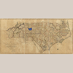 "Fig. 2: The area of northern Davidson County highlighted on ""…First Actual Survey of the State of North Carolina…"" by Jonathan Price and John Strother (surveyors), W.H. Harrison (engraver), and C.P. Harrison (printer), 1807, Philadelphia, PA. Ink on paper; HOA: 28-3/8"", WOA: 59-5/8"". Library of Congress, Geography and Map Division, Washington, DC, G3900 1808 .P7 Vault. Online: http://www.loc.gov/item/2011593508/ (accessed 19 April 2016)."