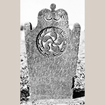 Fig. 5: Gravestone of Daniel Waggoner, ca. 1827, Bethany United Church of Christ Graveyard, Midway, Davidson Co., NC. MESDA Object Database file G-132.
