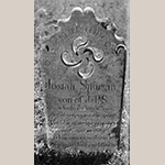 Fig. 7: Gravestone of Josiah Spurgin signed by Joseph Clodfelter, ca. 1820 (backdated), Abbotts Creek Primitive Baptist Church Graveyard, Wallburg, Davidson Co., NC. MESDA Object Database file G-73. Photograph by Tim Buchman.