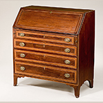 "Fig. 40: Desk by Mordecai Collins, ca. 1810, Davidson Co., NC. Walnut with yellow pine, tulip poplar, and walnut and light- and dark-wood inlay; HOA: 43-1/2"", WOA: 40"", DOA: 19-1/2"". Private collection. MESDA Object Database file D-32506."