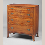 "Fig. 49: Chest of drawers by Mordecai Collins, ca. 1810, Davidson Co., NC. Walnut and cherry with yellow pine and light- and dark-wood inlay; HOA: 42"", WOA: 37"", DOA: 18-3/4"". Private collection. MESDA Object Database file D-32039."