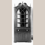 "Fig. 80: Corner cupboard attributed to John Swisegood, ca. 1835, Davidson Co., NC. Cherry and maple with tulip poplar and light wood; HOA: 97-1/4"", WOA: 36-3/8"", DOA: NR. Private collection. MESDA Object Database file S-2895."